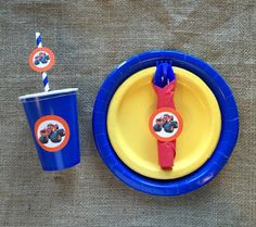 Take your party to the next level with this super cute tableware set featuring everyone's favorite, Blaze.Make setting up for your little one's party a breeze. This bundle includes plates, cups, rolle Happy 6th Birthday, Birthday Parties, Blaze The Monster Machine, Forks And Spoons, Plastic Cups, Plate Sets, Utensils, Napkins, Plates