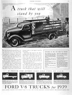 1939 Ford V8 Trucks original vintage ad. Features the regular chassis with platform or stake body, one ton, commercial pickup and cab/chassis only for custom box orders.