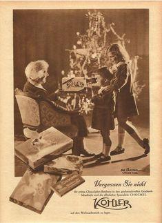 Chocolat Kohler Werbung 1928 Swiss Chocolate, Antique Christmas, Antiques, Movie Posters, Painting, Food, Art, Advertising, Antiquities