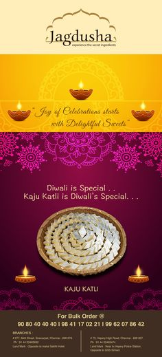 Enjoy the True taste of ‪Kaju katli‬ with ‪Jagdusha‬ ‪Sweets‬ & Savories. . .It's time to taste and celebrate the happiness..