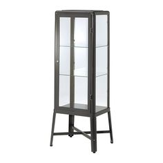 Buy IKEA FABRIKOR Glass-door Cabinet in DarkGrey. With a glass-door cabinet you can show off as well as protect your glassware or your favourite collection. Display Cabinets Ikea, Display Cabinet Lighting, Cabinet Lights, Glass Cabinet Doors, Sideboard Cabinet, Glass Door, Curio Cabinets, Metal Cabinets, Apothecary Cabinet