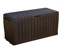 Keter Marvel Plus 71 Gallon Resin Plastic Wood Look All Weather Outdoor Storage Deck Box, Brown Plastic Storage Sheds, Wooden Storage Sheds, Pool Storage, Plastic Sheds, Outdoor Storage Boxes, Plastic Decking, Patio Accessories, Esschert Design, Deck Box