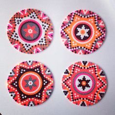 Hama perler bead coasters by saraseir Perler beads for me, are a great way to make something quick that really pops! This week I've taken out my beads and am playing around with different ideas. Perler Bead Designs, Hama Beads Design, Diy Perler Beads, Hama Beads Patterns, Perler Bead Art, Pearler Beads, Fuse Beads, Beading Patterns, Hama Perler