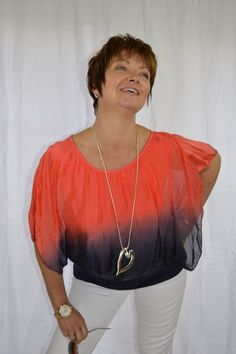 fd03605253cae Short - Sleeved Silk Batwing Top AND Long Heart Necklace – both from Mandy s  Heaven - Women s Fashion Boutique UK - Fashion Over 40