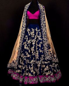 The Stylish And Elegant Lehenga Choli In Blue Colour Looks Stunning And Gorgeous With Trendy And Fashionable Embroidery . The Dhupion Silk Fabric Party Wear Lehenga Choli Looks Extremely Attractive An. Indian Bridal Wear, Indian Wedding Outfits, Indian Outfits, Indian Wear, Indian Clothes, Indian Weddings, Desi Clothes, Blue Bridal, Bridal Outfits