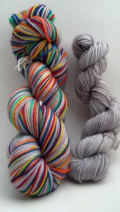 Cloudy With a Chance of Rainbows with toe/heel mini skein -- grey and rainbow self striping sock yarn -- 80/20 merino/nylon