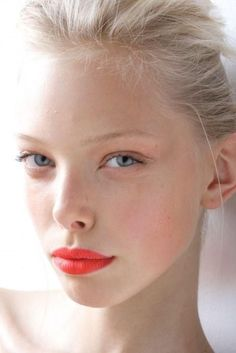 Fresh face with a bold lip.