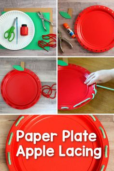 This Paper Plate Apple Lacing Activity is a fun, fall themed way for preschool children to work on developing their fine motor skills and hand-eye coordination. Preschool Apple Activities, Preschool Apples, Childcare Activities, Early Learning Activities, Motor Skills Activities, Fall Preschool, Hands On Activities, Preschool Crafts, Preschool Activities