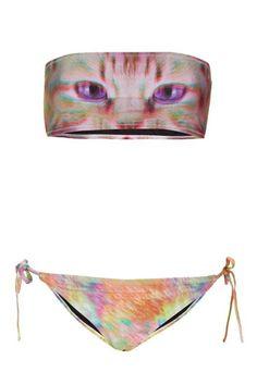 TOPSHOP PINK HOLOGRAM CAT KITTY PRINT BANDEAU STRAPLESS BIKINI UK10 EUR38 US6