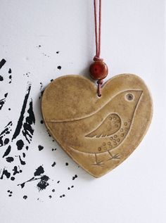 Hanging heart decoration with speckled bird  Mothers by jolucksted, £8.50