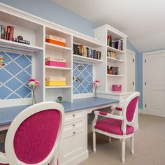 Office / Craft space ideas. not the colors, love the idea of the built ins