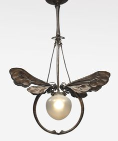 European Art Nouveau Chandelier ca. 1900. Patinated bronze and glass. (hva)
