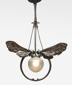 European Art Nouveau Chandelier ca. 1900. Patinated bronze and glass. (hva)