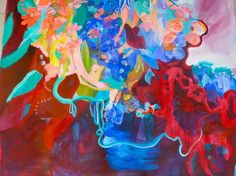 """Saatchi Online Artist Irina Rosenfeldt; Painting, """"WOUNDED WATER"""" #art  Elements from nature not shown as such, but as pure energy source of energy from within the color. Flowers as awide open symbolism.  Powerful vibratoes, highly saturated colours generate a vibrant euphoria that does not calm down, they keep operating even at a distance. Just in the middle of feelings and thoughts, searching for a deep idea, acknowledging that in uncertainty truth will appear."""