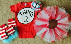 Thing 1 and Thing 2 Birthday Outfits by sassysistabowtique on Etsy, $135.00
