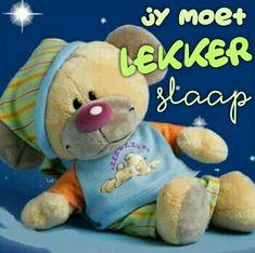 Lekker Dag, Goeie Nag, Goeie More, Afrikaans Quotes, Good Night Sweet Dreams, Special Quotes, Teddy Bear, Night Night, Soul Food