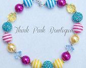 Girls Chunky Necklace, Girls Bubblegum Chunky Necklace, multi color chunky girls necklace , Rose Chunky Bead Necklace,Children Necklace.