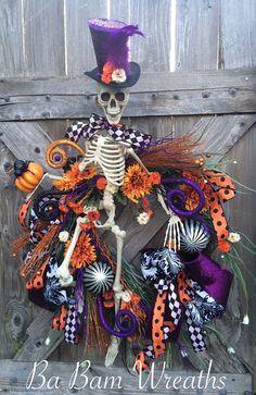 Mr. Dem Bones Skeleton Wreath Skeleton Decor by BaBamWreaths
