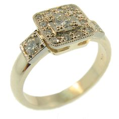 9ct Yellow & White Gold Round Brilliant Diamond cluster style ring, handmade by Sam Drummond at Cameron Jewellery