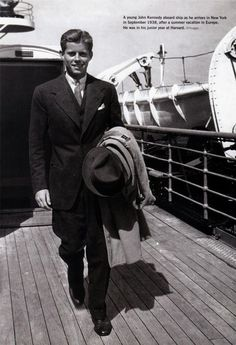 A young John F. Kennedy aboard ship as he arrives in New York in September 1938 after a summer vacation in Europe. He was in his junior year at Harvard.
