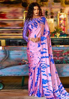 Pink and Blue Printed Saree With Blouse Crepe Saree, Satin Saree, Sari Dress, Trendy Sarees, Indian Sarees Online, Purple Satin, Saree Styles, Printed Sarees, Festival Wear