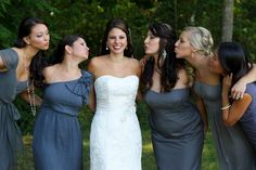 Mismatched grey bridesmaids dresses