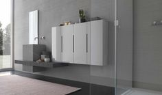 :: BATHROOMS :: Photo Credit: Modulnova Italy. Series: Plank XL. Beautiful Innovative bathroom vanity statements, cantilevered counter with integrated vessel sink feature. Lovely layering of textures and a deeper darker yet rich colour palette #bathrooms