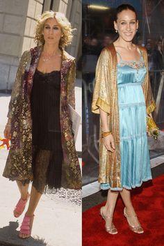 Kimono Un kimono largo dorado para acompañar un vestido lencero. ¿Se parecen verdad?