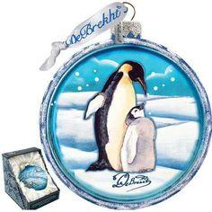 G Debrekht Holiday Penguin Pals Cut Ball Glass Ornament