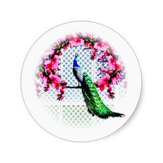 http://www.zazzle.com.au/peacock_cherry_blossoms_and_lattice-217966471590610728?rf=238523064604734277 Peacock Cherry Blossoms And Lattice - This sticker features a peacock perching on a cherry blossom branch in front of a lattice wall.