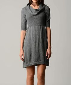 This Gray Cowl Neck Sweater Dress - Women by Sweater Barn is perfect! #zulilyfinds