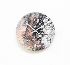 Unique Wall Clock, Acrylic Pour Art, Abstract Home Decor and Wall Art, Wall Clock Ready To Ship Etsy Free Shipping, Handmade Clocks, Reclaimed Wood Art, Wall Clock Design, Unique Wall Clocks, Wood Bedroom, Quartz Clock Mechanism, Acrylic Pouring, Art Pieces