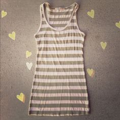 NEW Forever 21 Tank! Striped tan/green tank by F21! :) Material is 50% Cotton/50% Polyester! Size: Small 🌸 Forever 21 Tops Tank Tops