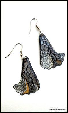 Elegant Dark Wings Black Gray and Gold Handmade by MetalChocolate