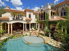 Mediterranean villa ~ Love the way the patio is so integrated with the pool.   ᘡղbᘠ