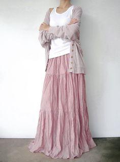 NO.5 Pink Cotton Gauze Hippie Gypsy Boho Tiered Long Peasant