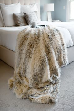 Artic Leopard Limited Edition Faux Fur Throw Blankets