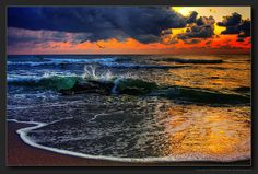 Photo about Scenic view of colorful sunset and cloudscape over ocean with waves breaking in foreground. Image of colors, colours, coastal - 11512552 Somewhere On A Beach, Tent Living, Images Of Colours, Ocean Sunset, View Image, Romania, Netherlands, Coastal, Sunrise