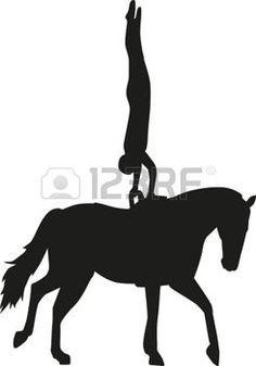 mujer cabalgando: Horse Vaulting woman silhouette