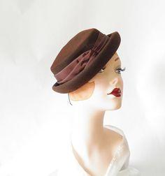 Vintage 1930s tilt hat brown Carson Pirie by TheVintageHatShop, $52.00