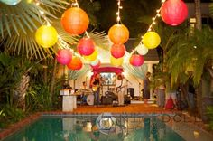 Wedding Hanging Paper Lanterns - Vintage Circus Theme Engagement Party  - Decor and Design by Kate Bentley - Key West Engagement Party - Private Key West Home