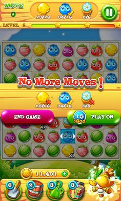 Garden Mania 2 by Ezjoy - Out of Moves Screen - Match 3 Game - iOS Game - Android Game - UI - Game Interface - Game HUD - Game Art