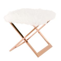 Laurel Faux Fur Ottoman Rose Gold Base, White | Modern Ottoman by New Pacific Direct at Contemporary Modern Furniture  Warehouse