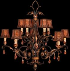 """Fine Art Lamps Brighton Pavilion Chandelier 303940    H. 36"""" x W. 39""""  Shades: 4"""" x 5.5"""" x 5""""  10 x 60 watt Candelabra base B-10 lamp    Ten-light chandelier in bronzed sienna finish. Foliage motif body features hand-made floriated shades and amber crystal drops.    Made in USA.  Most Fine Art Lamps products can be customized and may be converted to 220v.    Fine Art Lamps - Brighton Pavilion Collection - Designer Discounts - Call Brand Lighting Sales 800-585-1285 to ask for your best price!"""