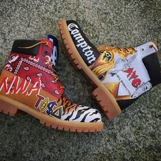 ❥ᏣUЅᎿᏫℳℐℤℰⅅ❥✰ Painted Sneakers, Painted Shoes, Custom Sneakers, Custom Shoes, Timbaland Boots, Custom Timberland Boots, Timberlands Shoes, Sneaker Boots, Dream Shoes