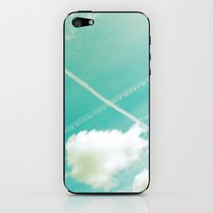 Scottish sky 2594 iPhone & iPod Skins by Cally Creates | Society6. Other items available. I always smile when I see crossed contrails in the sky reminding me of the Scottish flag, especially when I was young and living 5000 miles away from my home country.  (blue green - sky - clouds - saltire - space - freedom - float - soft - pastel - airy - cross - X - contrails). Find me here: www.callycreates.blogspot.co.uk and here: www.facebook.com/cally.creates/