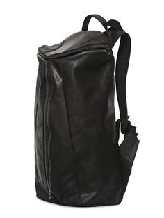 ZIP-UP LEATHER BACKPACK