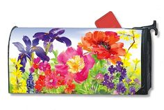Magnet Works Mailwraps Mailbox Cover - Garden Blooms Design Magnetic Mailbox Cov