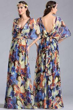 [USD 129.99] eDressit Convertible A Line Printed Dress Summer Holiday Dress…