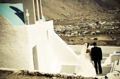 Aspasia Rammos.Santorini wedding . bride and groom